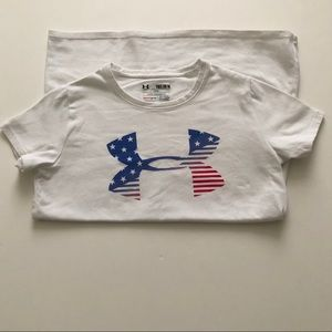Under Armor Logo Youth M T-Shirt Red White & Blue